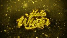 Hola tarjeta de felicitaciones de los deseos del invierno, invitación, fuego artificial de la celebración