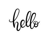 Hola tarjeta de letras de la mano Imagenes de archivo