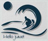 Hola tarjeta del vector de la persona que practica surf del verano de junio Imágenes de archivo libres de regalías
