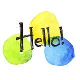 Hola tarjeta, letras de la mano en la acuarela pintada a mano Fotografía de archivo libre de regalías