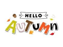 Hola tipografía de las letras de Autum libre illustration