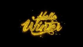 Hola tipografía del invierno escrita con los fuegos artificiales de oro de las chispas de las partículas