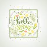 Hola vector de la tarjeta de felicitación de la primavera stock de ilustración