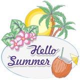 Hola vector enmarcado oval tropical Logo Design Pastel Colors de la etiqueta del verano stock de ilustración