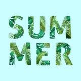 Hola verano, verano El cartel del texto contra el fondo Foto de archivo