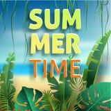 Hola verano, verano El cartel del texto contra el fondo Fotografía de archivo libre de regalías