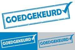 Holandés aprobado: Sello de goma/etiqueta de Goedgekeurd ilustración del vector