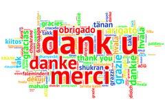 Holandés: U húmedo, nube abierta de la palabra, gracias, en blanco ilustración del vector