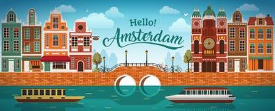 Holanda lisa do panorama de Amsterdão, rua da cor da bicicleta da terraplenagem do barco da ponte do canal do canal do mar do rio Fotografia de Stock