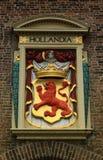 Holandia emblemat - Czerwony lew w Haskim mieście Zdjęcie Royalty Free