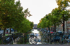 HOLANDIE AMSTERDAM, PAŹDZIERNIK, - 24, 2015: Most na rzecznym kanale w jesieni na Październiku 24 w Amsterdam - holandie Obrazy Stock