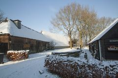 Holandie, krajobrazy i młyny w wintertime, zdjęcie royalty free