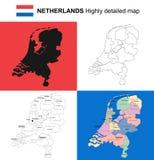 Holandie - wektor wysoce szczegółowa polityczna mapa z regionami, Zdjęcia Royalty Free