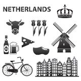 Holandii ikona ustawiająca odizolowywającą na białym tle Holandia i Amsterdam symbole: wiatrowy młyn, tulipany, bicykl, piwo Szab ilustracji