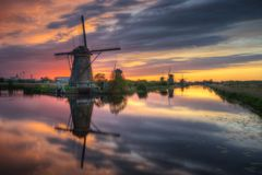 Holandii Kinderdijk wiatraczki Obrazy Royalty Free