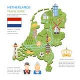 Holandii mapy mieszkanie Infographics Zdjęcie Stock