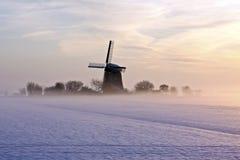 holandii tradycyjna wiatraczka zima Obraz Royalty Free