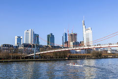 Holbein bridge in Frankfurt am Main with skyline. Stock Photography