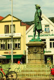Holberg雕象在2014年7月25日的卑尔根在挪威 免版税图库摄影