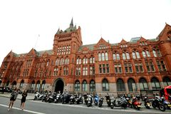 Holborn Bars, or the Prudential Assurance Building is a large red terracotta Victorian building. On the north-side of Holborn, next to Chancery Lane underground royalty free stock image