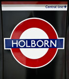 Holborn tube station sign - London Underground roundel. 25 April 2012: The identifying sign for the London Underground (tube) station on a platform at Holborn Royalty Free Stock Photography
