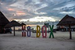 Holbox在海滩的海岛信件 免版税库存图片