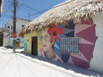 Holbox老妇人街道画 库存照片