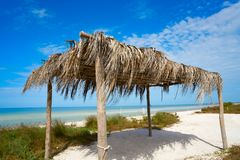 Holbox Island beach hut palapa in Mexico. Holbox Island beach hut palapa in Quintana Roo of Mexico Royalty Free Stock Images