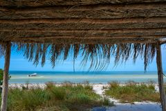 Holbox Island beach hut palapa in Mexico Stock Photo