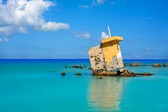 Holbox island beach Mexico hurricane ruins Stock Images