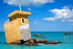 Holbox island beach Mexico hurricane ruins stock photos
