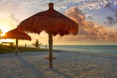 Holbox Island beach sunroof Mexico. Holbox Island beach sunroof palapa in Quintana Roo of Mexico Royalty Free Stock Photos