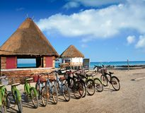 Holbox Island bicycles and hut Quintana Roo Royalty Free Stock Image