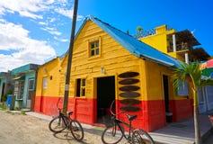 Holbox Island colorful Caribbean houses Mexico Stock Photos
