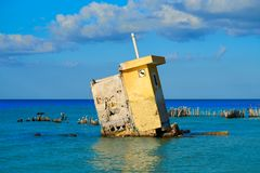 Holbox island Mexico hurricane ruins Stock Photo