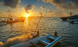 Holbox island port sunset in Quintana Roo. Of Mexico Royalty Free Stock Image