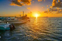 Holbox island port sunset in Quintana Roo Royalty Free Stock Images