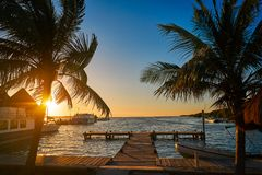 Holbox island port sunset in Quintana Roo. Of Mexico Royalty Free Stock Photos