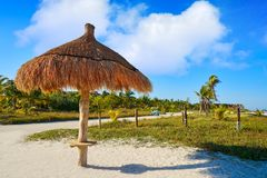 Holbox Island in Quintana Roo Mexico. Holbox Island beach sunroof palapa in Quintana Roo of Mexico Stock Photography