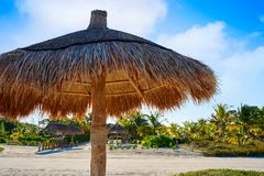 Holbox Island in Quintana Roo Mexico. Holbox Island beach sunroof palapa in Quintana Roo of Mexico Stock Image