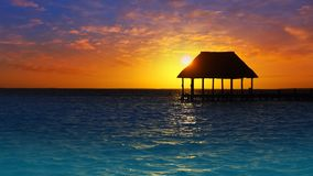 Holbox island sunset beach in Mexico at Caribbean. Sea Quintana Roo in Mayan Riviera stock footage