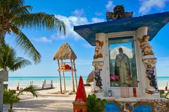 Holbox Island virgin statue in Quintana Roo. Of Mexico Stock Photo