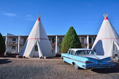 Wigwam motel on historic route 66. Holbrook, Arizona - July 23, 2017: Wigwam Motel on historic route 66 on July 23, 2017 in Holbrook, Arizona. The rooms of this Royalty Free Stock Photos