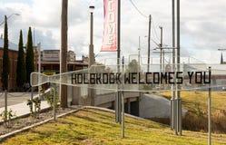Holbrook, Australien - 9. Juli 2018: Willkommensschild in der New South Wales Stadt von Holbrook, Australien lizenzfreies stockfoto
