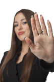 Hold. Beautiful woman with open hand Royalty Free Stock Photography