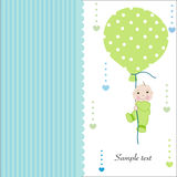 Hold the balloon baby boy arrival greeting card Royalty Free Stock Photography