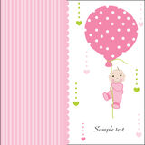 Hold the balloon baby girl arrival greeting card Royalty Free Stock Photography