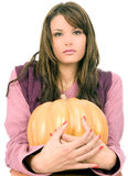 Hold on big orange pumpkin Stock Photo
