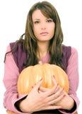 Hold on big orange pumpkin Stock Photo