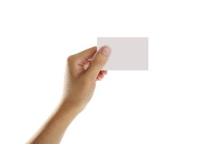 Hold Blank Business Card Royalty Free Stock Photos